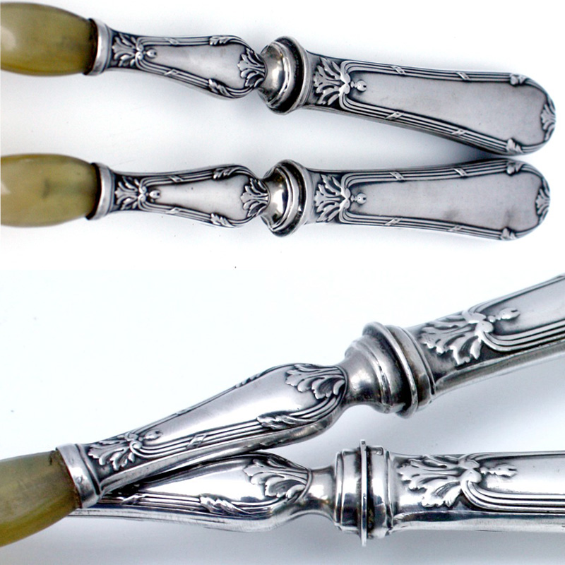 Antique Continental Silver Salad Servers