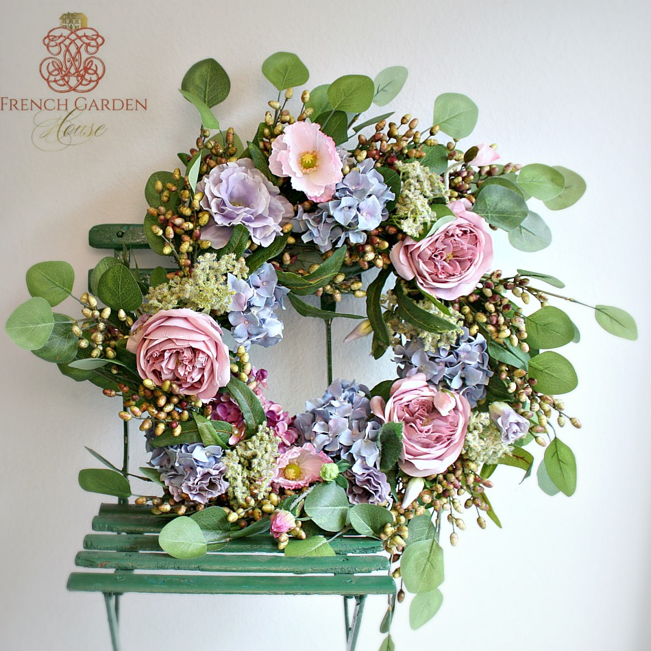 Luxurious French Spring Country Romance Wreath Lavender