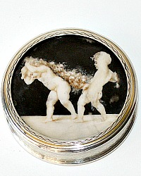 Antique French Sterling Silver Tabatiere or Pill Box Hand Painted Cherubs Andre Delphy