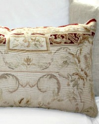 Vintage French Country Tapestry Fragment Pillow Cover