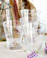 French Hand Made Floral Amour Tumbler Glass Set of 4