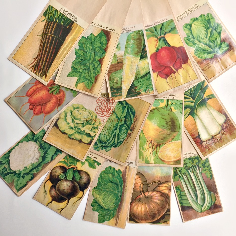 Antique French Seed Packets Vegetables Set of 5