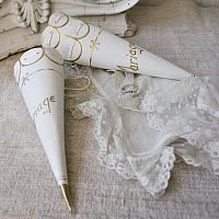 Antique French Paper Wedding Favor Cone