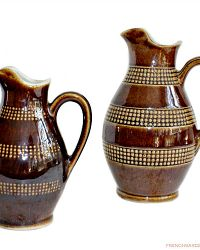 Provincial Country French Pottery Wine Measure Pitchers Set of 2
