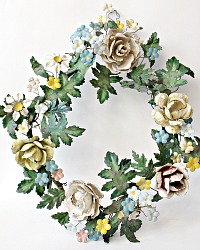 Zinc and Metal Tole Memorial Floral Wreath