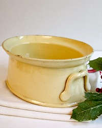 French Country Stoneware Yellow Tureen
