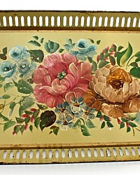 Vintage Toleware Tole Tray Long French Country Yellow Hand Painted Pink Roses