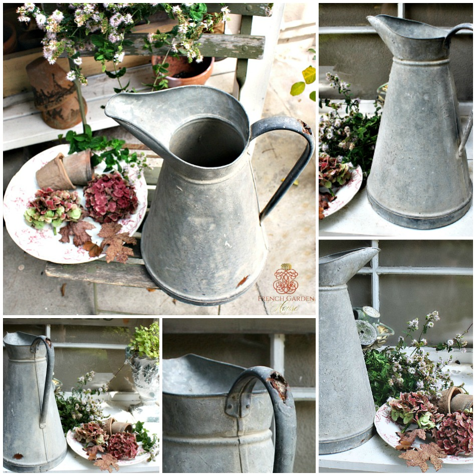 Antique French Country Zinc Body Pitcher