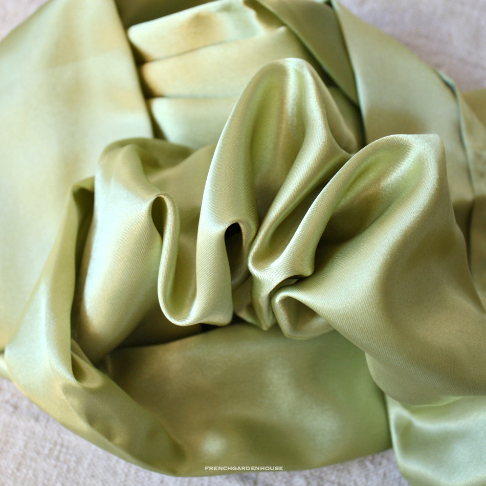 Satin Chandelier Cord Cover French Apple Green Light