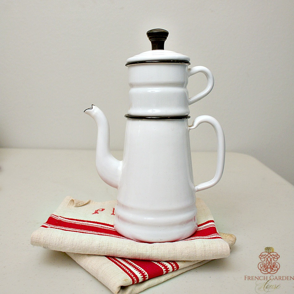 Antique French Enamel White Coffee Pot Biggin