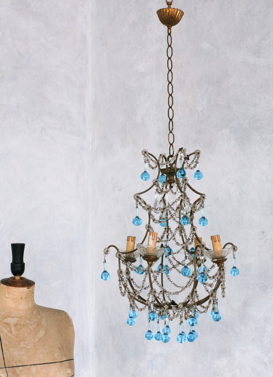 Vintage S Shabby Blue Macaroni Beaded Crysta - Chandelier crystals blue