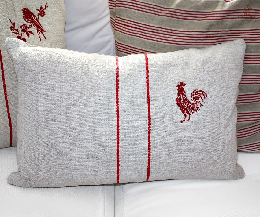 Antique French Country Grain Sack Pillow with Red Embroidered Rooster