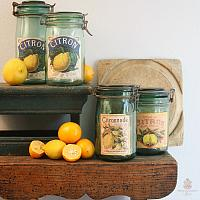 Vintage French Glass Canning  Jar Citron Label