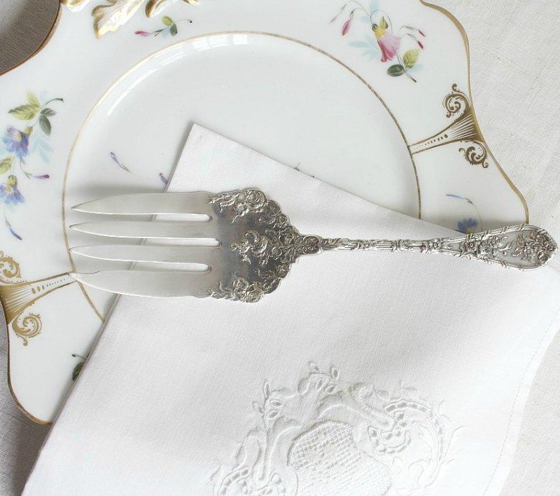 Sterling Silver Rose Floral Serving Fork