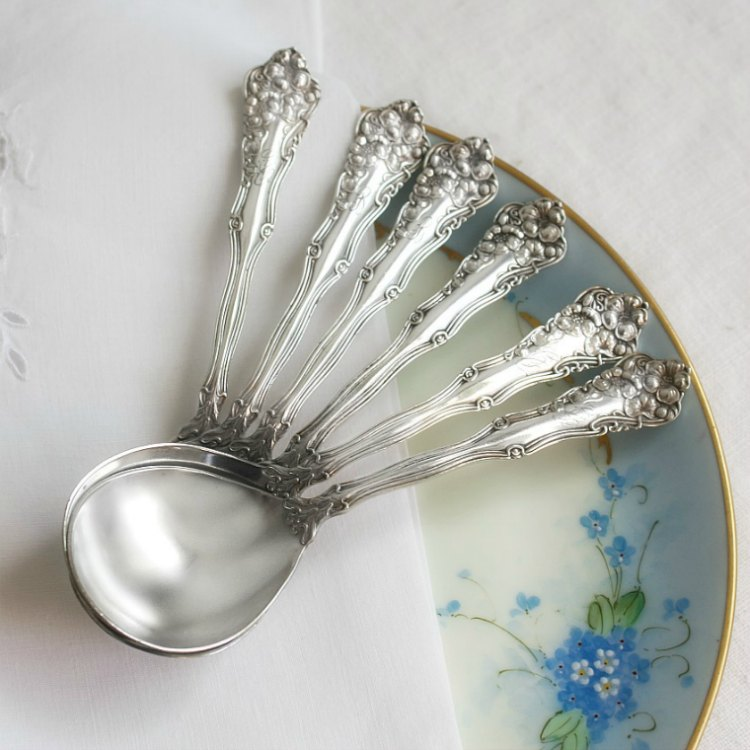 Antique Floral Silver Plate Chocolate Spoons Set of 6
