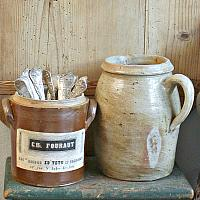 Antique French Earthenware Preserving Pot with Label