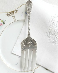 Sterling Silver Rose Floral Serving Fork