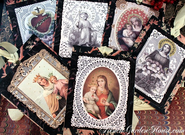 French Holy Card Glittered Gift Tags Set of 6
