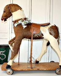 Rare French Antique Toy Horse with Hide & Leather Saddle