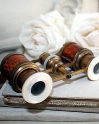 Antique French Petite Guilloche Opera Glasses MOP & Case