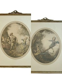 Pair of Vintage French Lancret Rococo Prints in Gilt Bow Frames