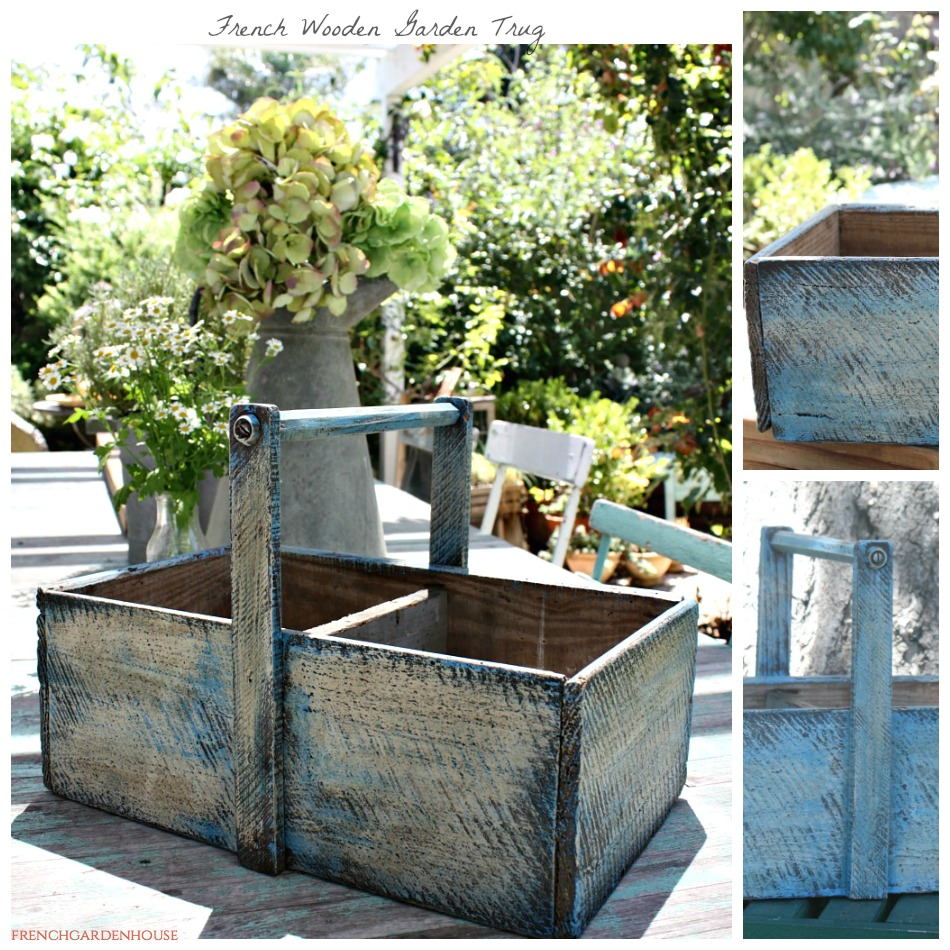 Antique French Wooden Garden Trug Painted Basket