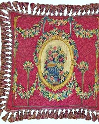 Aubusson Red French Floral Urn Pillow