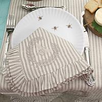 Luxurious Organic Linen Napoleonic Bee Ruffled Napkin Striped Set of 4