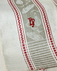 Rare Antique Linen Flax Towel Red Zeppelins and Air Balloons Monogram E P