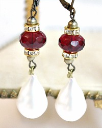 Creme de La Mer and Red Crystal Pearl Earrings