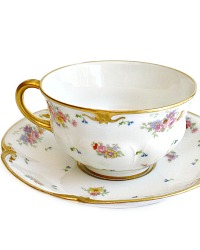 Antique French Limoges Floral & Gilt Tea Cup and Saucer Set