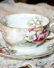 Antique French Haviland Limoges Pink Roses Porcelain Teacup