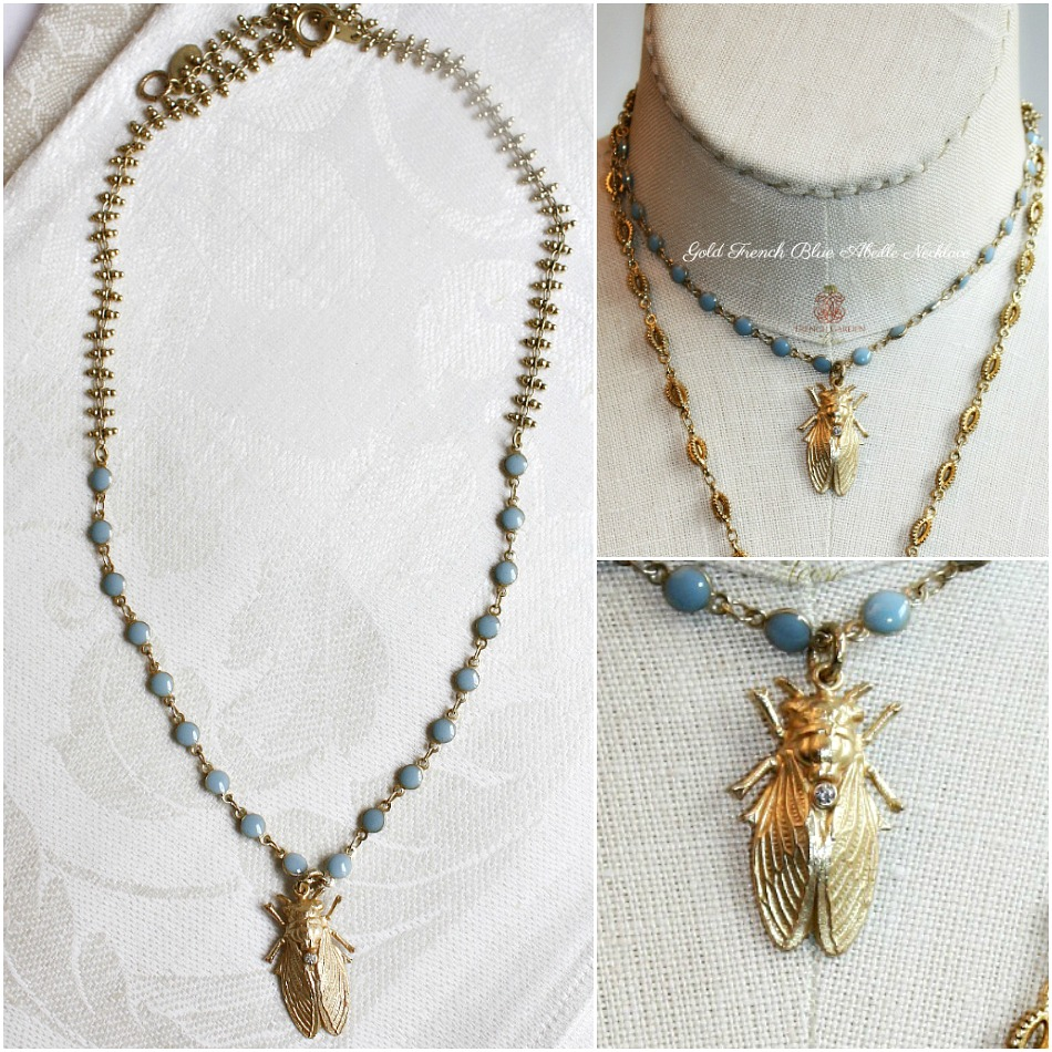Gold French Blue Abeille Necklace