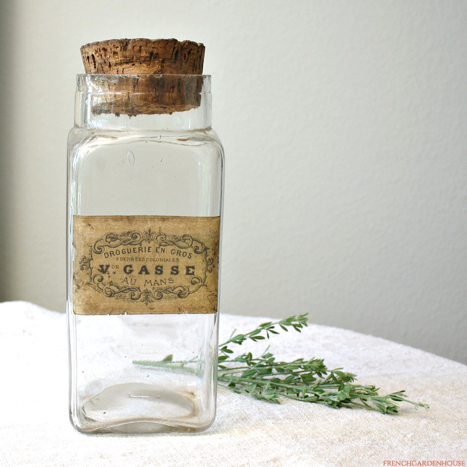 Antique French Glass Apothecary Jar Paper Label Drogeurie Gasse