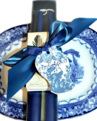 Hand Dipped Deep Blue Taper Candles Gift Set