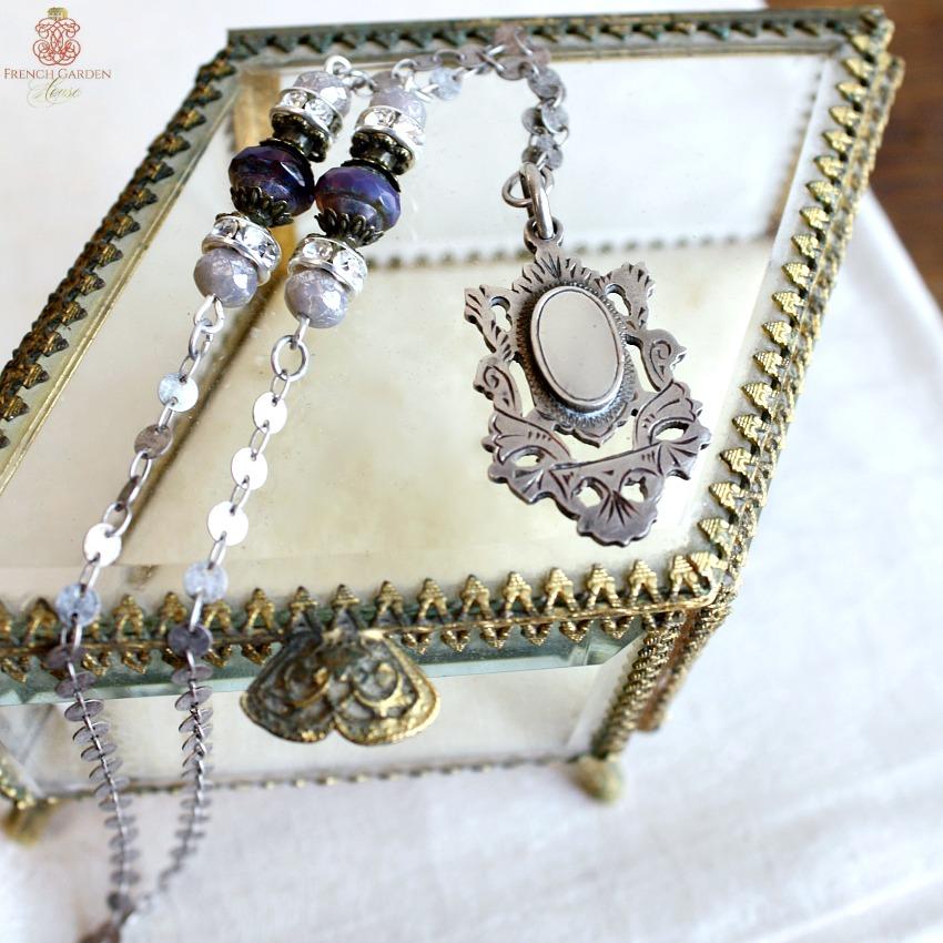 Antique Sterling Fob Necklace Violet