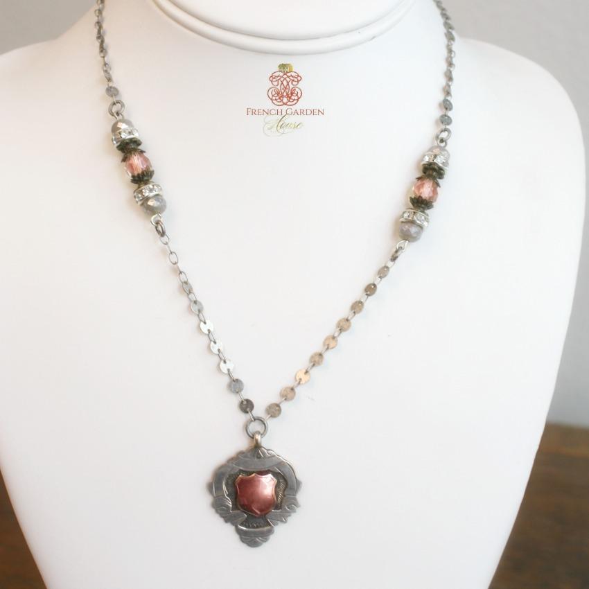 Antique Sterling Fob Necklace Golden Rose