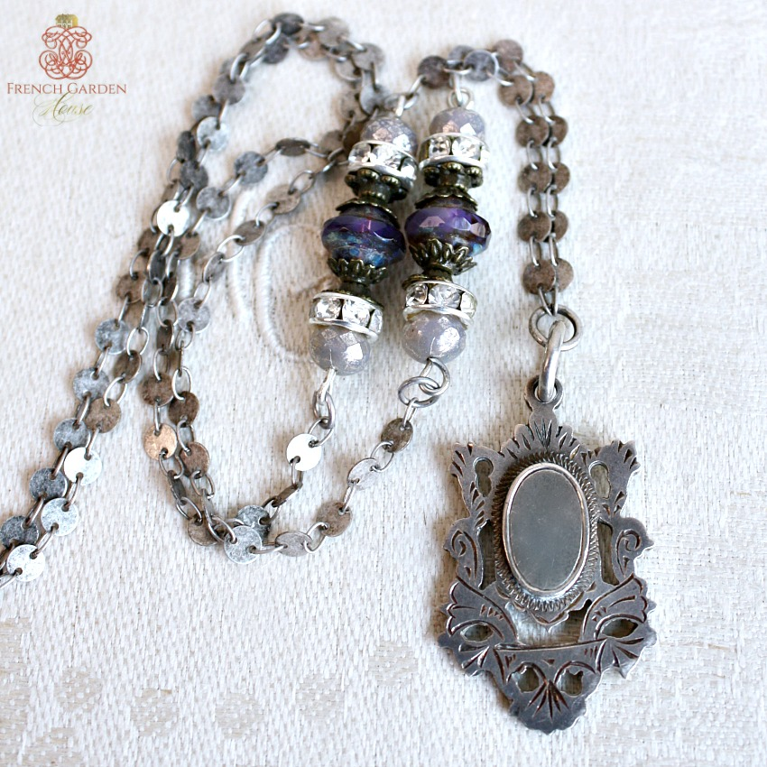 Antique Sterling Fob Necklace Violet