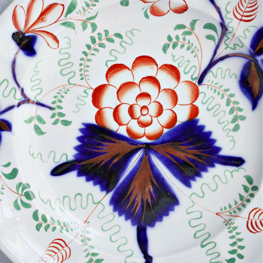 19th Century Gaudy Welsh Flow Blue Plate Floral Design