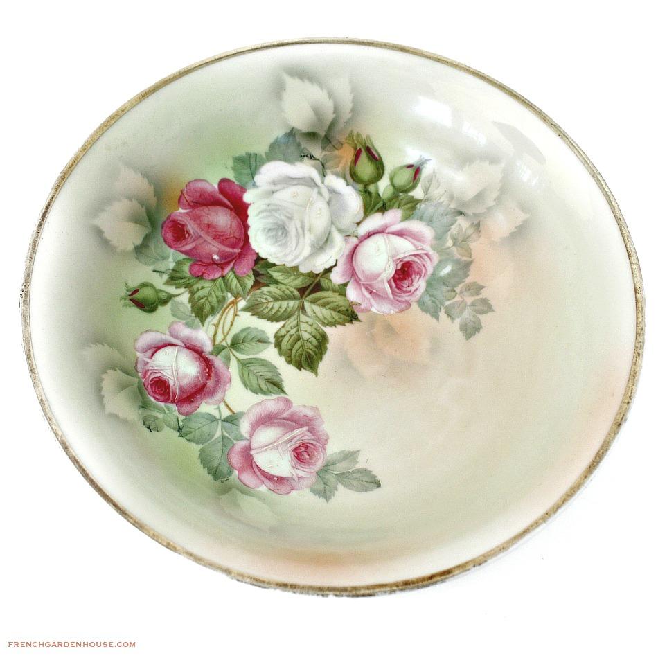 Antique Enameled Pink Roses Serving Bowl