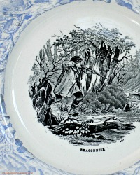 Antique French Faience Story Cabinet Plate Black Blue Transferware Poacher