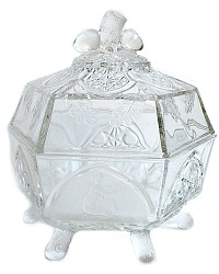 Antique Estate EAPG Pattern Glass Gillinder Classic Butter Dish & Lid