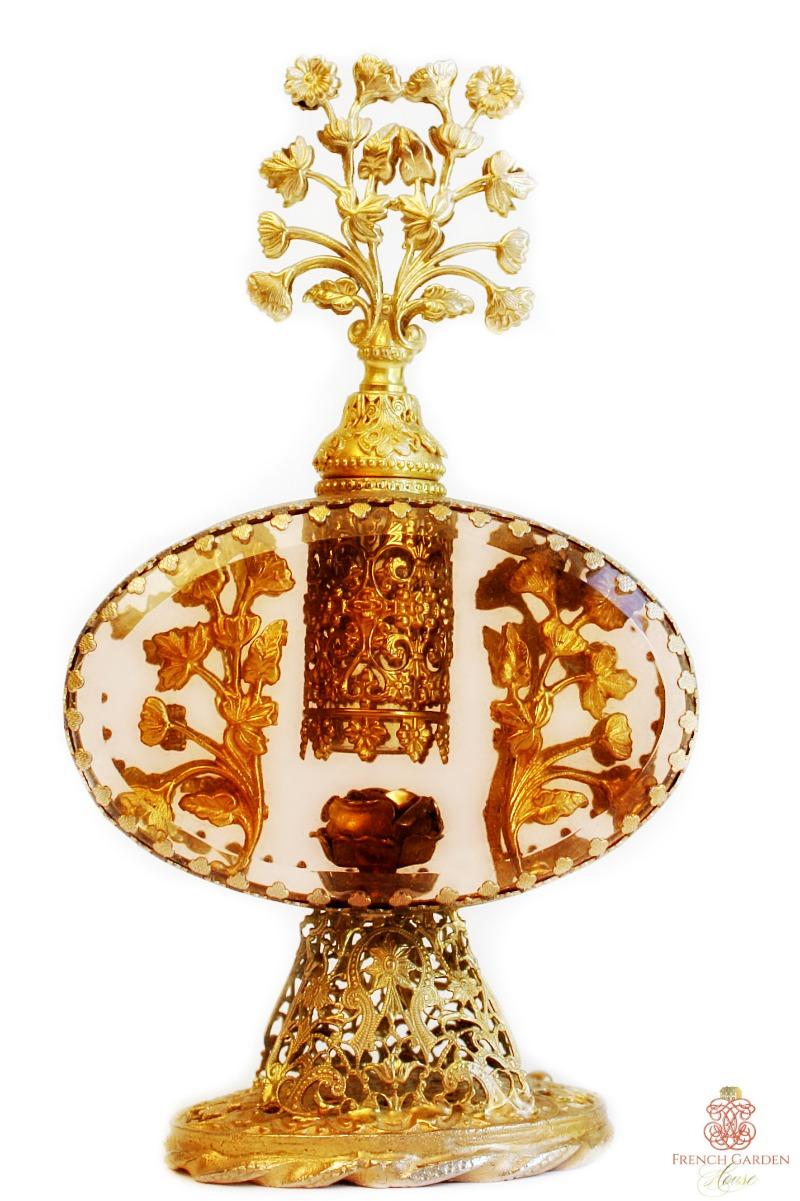 Vintage Large Filigree 24kt Gold Plated Perfume Bottle