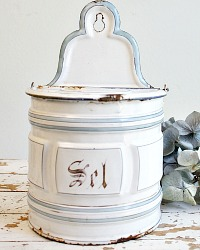 Antique French Enamelware Light Blue & White SEL Salt Box