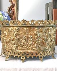 French Brass Oval Jardiniere with Cherubs