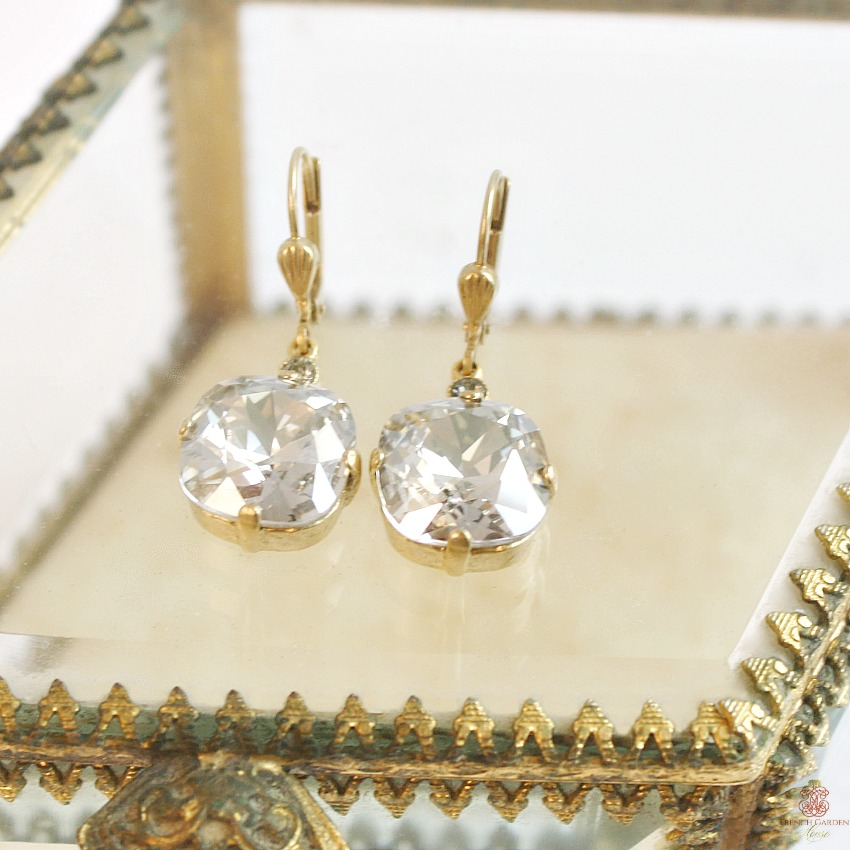Gold & Parisian Clear Cushion Cut Crystal Earrings