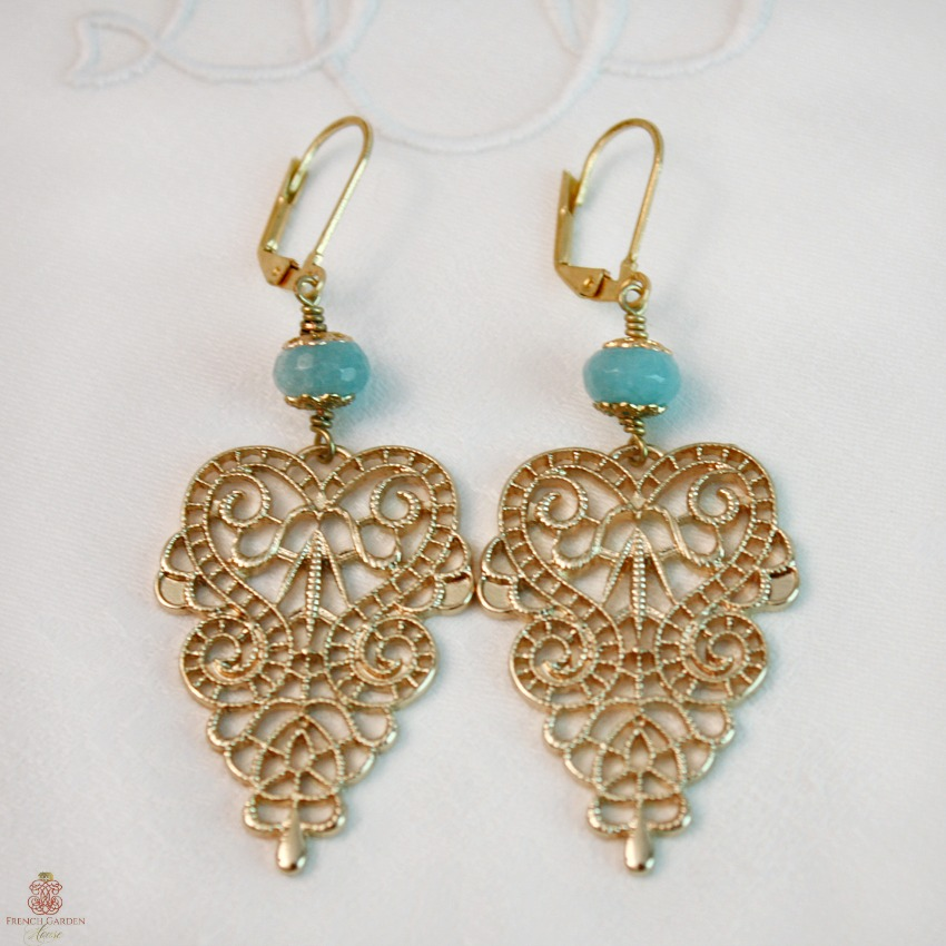 Aquamarine and Gold Lace Earrings