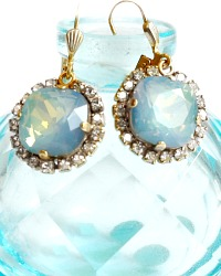 Gold &  La Mer Blue  Comtesse Cushion Cut Crystal Earrings