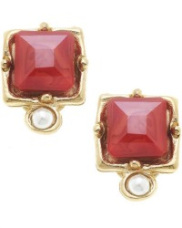 Gold and Coral Red Fresh Water Pearl Earrings