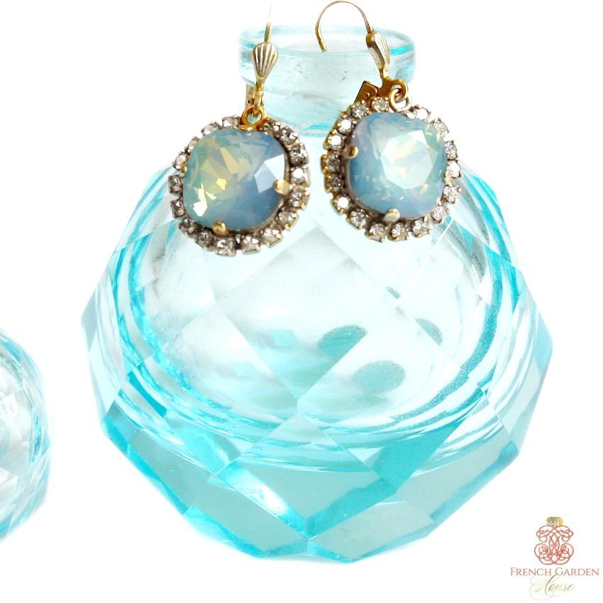 Gold &  La Mer Blue  Comtesse Cushion Cut Crystal Earrings